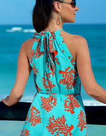 Halter dress with easy back tie