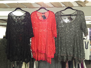 red, gray and black crocheted lacy tops